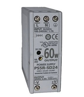 IDEC Corporation PS5R-SD24 Power Supply; AC-DC; 24V@2.5A; 85-264V In; Enclosed; DIN Rail Mount; PFC; PS5R Series by Materro(tm)