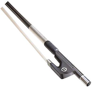 ヴァイオリン弓 4/4エボニーフロッグ楽器アクセサリーカーボンファイバーフィドルボウ プロのバイオリン弓 (Color : Black, Size : 4/4)