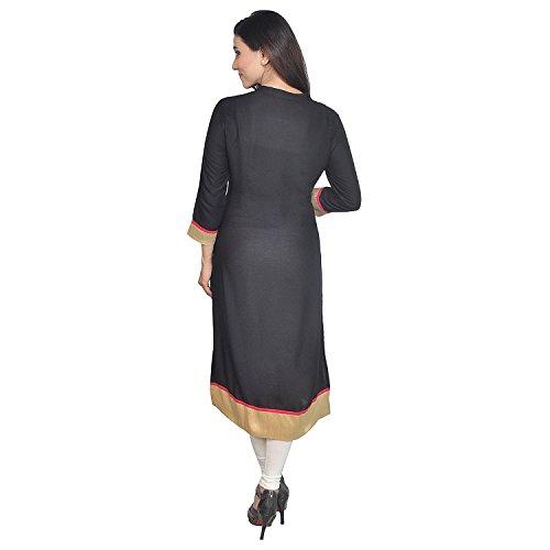 Chichi Indian Women Kurta Kurti 3/4 Sleeve Medium Size Plain with Jaipuri Embroidered Straight Black-Cream Top by CHI (Image #4)