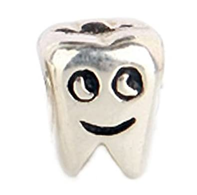 a0d11b42f ... Tooth Charm Bead 925 Sterling Silver Fits Pandora Charm Bracelet ...