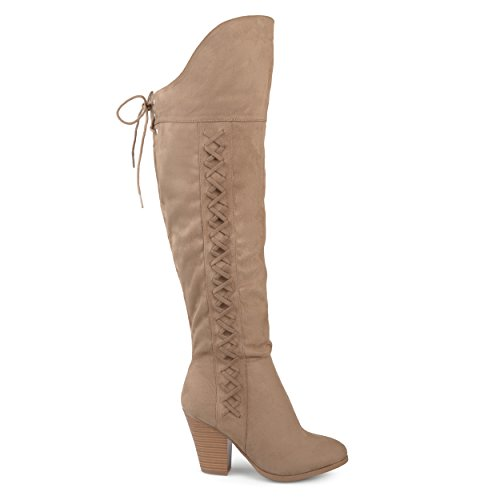 Brinley Co Womens Siro Faux Suede Regular and Wide Calf Faux Lace-up Over-The-Knee Boots Taupe, 10 Regular (Wide Calf Lace Up Boots)