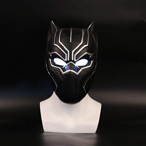 LUCILAS Black Panther Mask 24 inch PVC 2017 New Captain America Helmet with Light Black Panther Helmet Civil war Cosplay mask Halloween Party -
