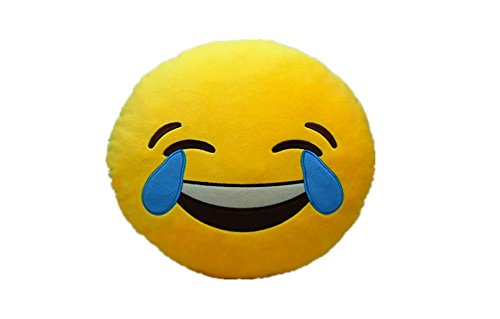LAUGH TO TEAR Emoji Pillow Smiley Emoticon Yellow Round Cushion Stuffed Plush Soft Toy(Poop,Pinkpoop,Monkey,Money Mouth,Cat,Heart Eye,Laugh to Tear,Smirking,Throwing Kiss,Tongue,Devil,Nerd)