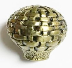 Solid Pewter Drawer & Cabinet Pull Knob - Choose Your Style (1 Set of 4 Knobs) (Antique Brass Basket Weave)