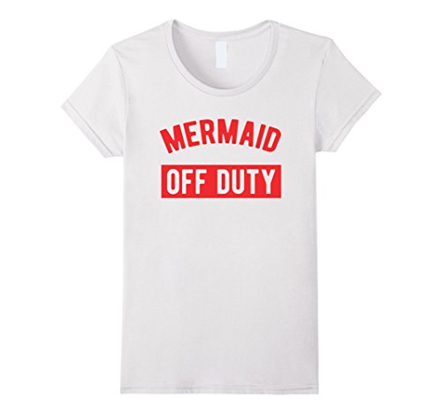 Women's Mermaid Off Duty - Girls & Women's Summer T-Shirt Small White