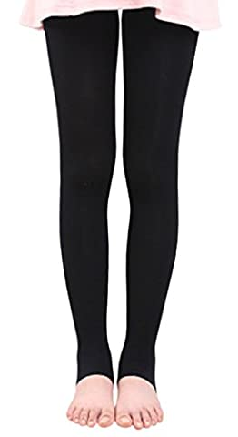 BaiX Little Girls' Solid Opaque Stirrup Tights Dance Leggings Panty-hose, 4-7 Years, Black - Opaque Stirrup Tights