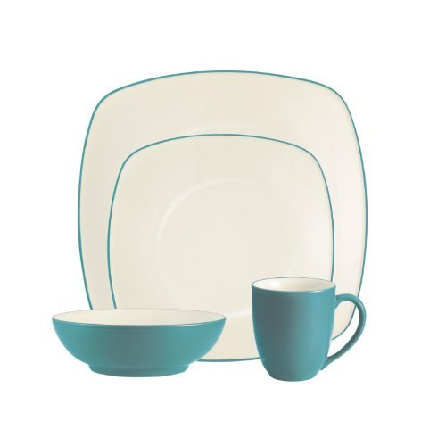 (Colorwave Square 16 Piece Dinnerware Set Color: Turquoise)