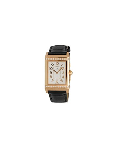 Jaeger LeCoultre Grande Reverso Silver Dial 18kt Rose Gold Black Leather Ladies Watch Q3202421 (Grande Jaeger Lecoultre)