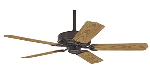 Hunter 28464 Bridgeport ETL Damp Listed 52-Inch 5-Blade Ceiling Fan, New Bronze with Plastic Oak Blades (5 Blade New Bronze Patio)