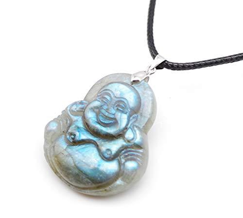 NATURSTON Gemstone's Tibetan Happy Buddha Pendant Necklace Natural Labradorite Handmade Religious Jewelry (Buddha-L-04) ()