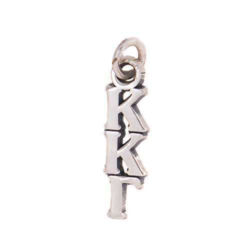 Kappa Kappa Gamma Sorority Letter Sterling Silver or 14k Gold Lavalier Necklace with Chain kkg (Silver)