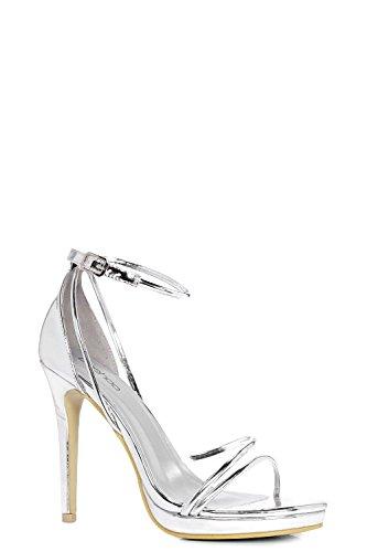 Damen Silber Ellie Plateau-sandalen In Metallic-optik Mit Absatz Und Überkreuzten Riemchen Silber