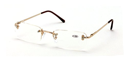 V.W.E. Clear Bifocal Rimless Rectangle Reader Reading glasses - Comfortable Stylish Simple Readers (Gold, (Rimless Bifocal Reading Glasses)