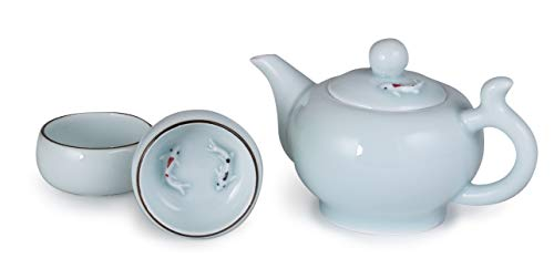 Hinomaru Collection Longquan Sky Blue Porcelain Chinese Kungfu Teaset 8 fl oz Side Handle Teapot and 2 Teacup Hand Painted Koi Fish Carp Tea For Two Set