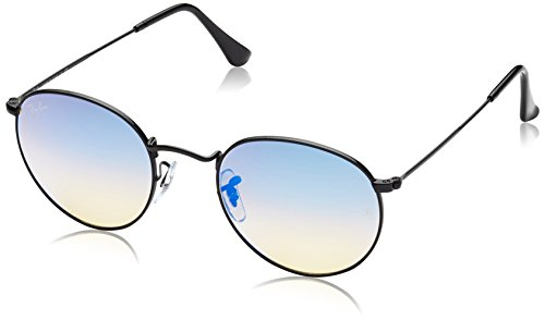 Ray-Ban ROUND METAL - SHINY BLACK Frame MIRROR GRADIENT BLUE Lenses 50mm - Ban Ray Round Metal Black
