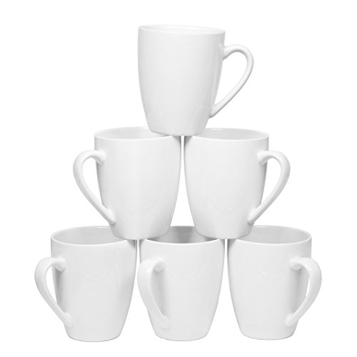 Coffee Mugs Set Set of 6, 14 Ounce Ceramic Dinner Mugs Set, Pure (White Porcelain Mug)
