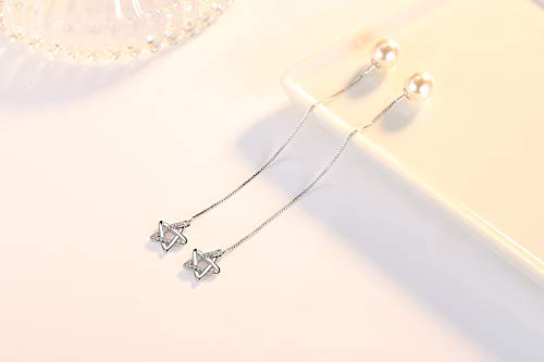 Elegant Lovely Silver Plated Dangling tassel ball Drop Earrings Women\'s Little Beads Pendant Fashion Jewellery with Gift box