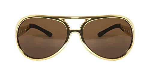 Gold 60s Rock Star Aviator Sunglasses - Metal Side Pieces   Polarized Lens Aviator Sunglasses for Men ()