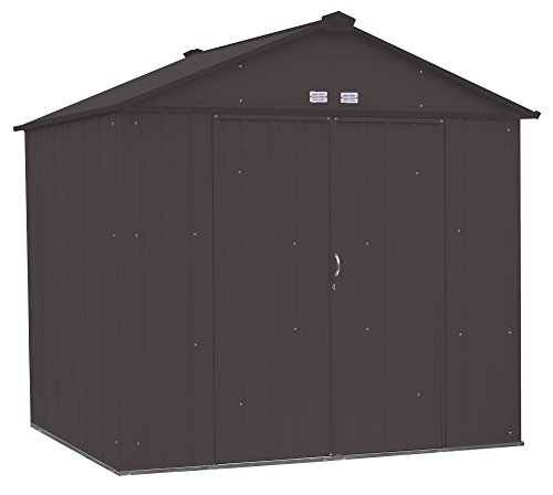 - Arrow EZEE Shed High Gable Steel Storage Shed, Charcoal, 8 x 7 ft.