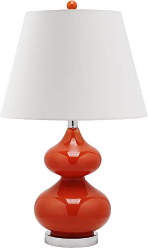 Safavieh Lighting Collection Eva Blood Orange Double Gourd Glass Table Lamp, 24