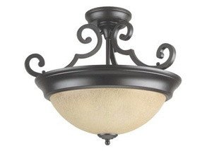 Craftmade Step (Craftmade X724-OB Bowl Semi-Flush Mount Light with Tea-Stained Glass Shades, Bronze Finish)