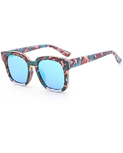 Konalla Vintage Colorful Frame Tinted Flat Top Anti-UV Sunglasses Unisex - Knockoffs Bans Ray