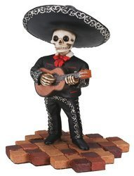 - Short Skeleton Skull Black Mariachi Band Guitar Statue