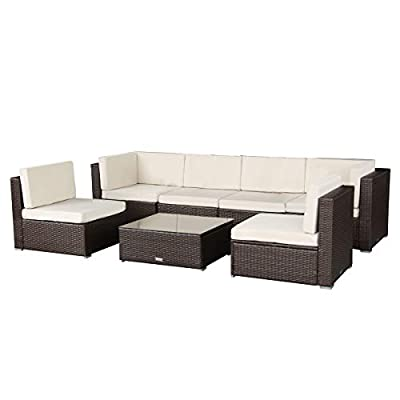 "U-max 7 Piece 3-14 Pieces Patio PE Rattan Wicker Sofa Set Sectional Furniture (BR-7 Pieces) - We improved the cushions for Brown ones from Jan.18th,2018.pls check pictures for more details.Pls Note:the green pillows no longer included for Brown sets. We have improved the seating height for brown ones from 15"" to 17"" from Feb.24th,2017,to make the chairs more comfortable. Modern 7 piece reconfigurable outdoor furniture set,Provide stylish and comfortable lounging at affordable price. - patio-furniture, patio, conversation-sets - 31hWNiVs4FL. SS400  -"