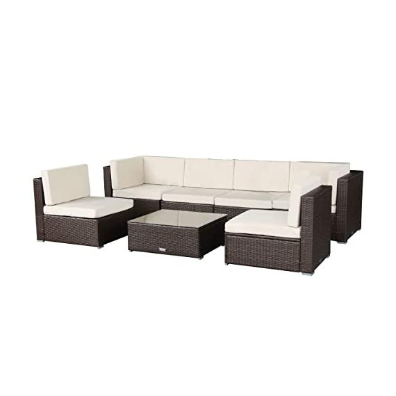 """U-max 7 Piece 3-14 Pieces Patio PE Rattan Wicker Sofa Set Sectional Furniture (BR-7 Pieces) - We improved the cushions for Brown ones from Jan.18th,2018.pls check pictures for more details.Pls Note:the green pillows no longer included for Brown sets. We have improved the seating height for brown ones from 15"""" to 17"""" from Feb.24th,2017,to make the chairs more comfortable. Modern 7 piece reconfigurable outdoor furniture set,Provide stylish and comfortable lounging at affordable price. - patio-furniture, patio, conversation-sets - 31hWNiVs4FL. SS570  -"""