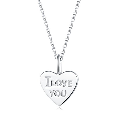 Carleen 18K White Gold Plated 925 Sterling Silver I Love You Heart Dainty Pendant Necklace for Women Girls with 15.75