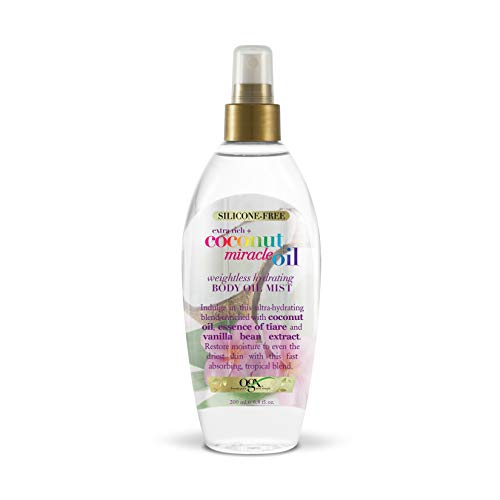 Polishing Oil - OGX Extra Rich + Coconut Miracle Oil Weightless Hydrating Silicone-Free Body Oil Mist, 6.8 Ounce