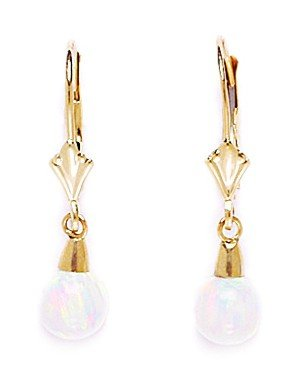 14k Yellow Gold White 6x6mm Created Opal Ball Drop Leverback Earrings - Measures 26x6mm by JewelryWeb