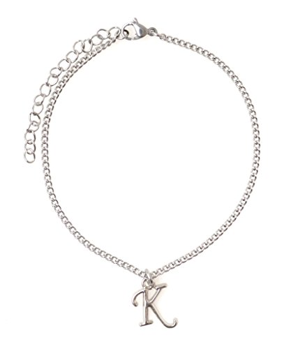 "It's All About...You! 7.5"" - 9.5"" Stainless Steel Ankle Bracelet with Alloy Initial Letter K 49K"
