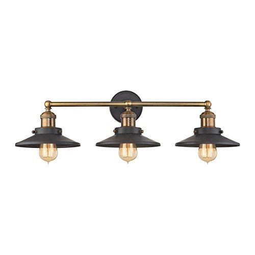 3-Light Vanity in Tarnished Graphite and Antique Brass Finish