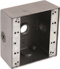 Preferred Industries 662034 2-Gang Weatherproof Aluminum Box with Three ½-Inch Outlets - Hole 2 Gang Aluminum Outlet