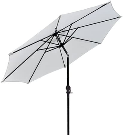 Black 92 Aluminum Pole w Tilt White 9 Feet Octagon Round Polyester Umbrella UV Block Sun Shade for Outdoor Patio Lawn Furniture Canopy Yard Beach Stall Caf