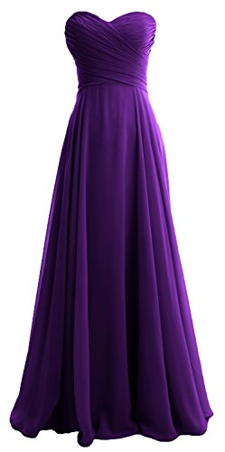 MACloth Elegant Strapless Chiffon Long Bridesmaid Dress Simple Prom Formal Gown Violett trep5UNT96