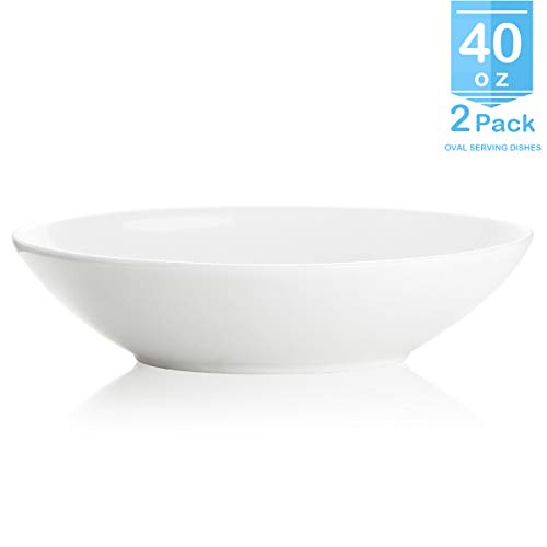 ZONEYILA 0524 Porcelain Oval Bowls Set - 1.1 Quart Salad, Pasta, fruit Ceramic Bowl, White, Set of 2