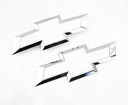 Truck Emblem Warehouse 2 New Custom White & Chrome Silverado 1500 2016-2018 Grill Tailgate Bow TIE - White Emblem
