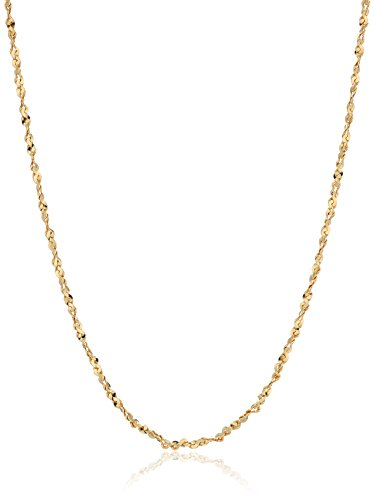 Gold Plated Sterling Silver 1.2mm Twisted Serpentine Chain Necklace, 14