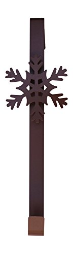 Reindeer or Snowflake Metal Over the Door Christmas Holiday Wreath Hanger Decoration (Snowflake) by One Holiday Lane