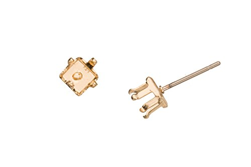 - 4-Prong Diamond Snap-On Ear Stud 14K Gold Finished Brass Fits 5mm Cabochons And Crystal With Surgical Stainless Steel Pin 5X5mm sold per 10pcs