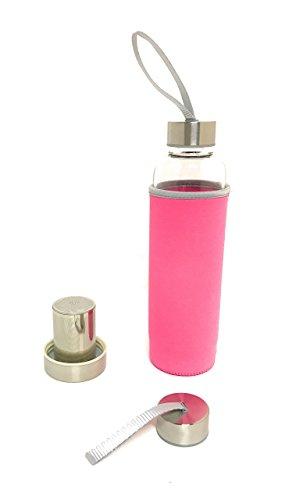 Glass Tea Infuser with Neoprene Insulating Protective Sleeve BPA Free - 550ml (Pink)