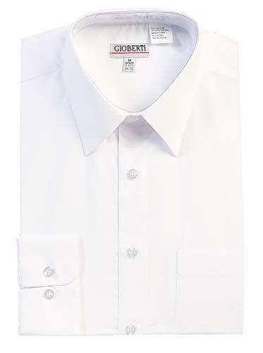 (Gioberti Men's Long Sleeve Solid Dress Shirt, White, 2X Large, Sleeve 35-36)