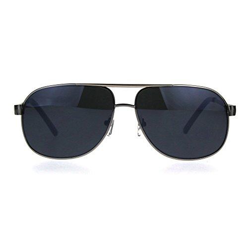 Luxury Mens Designer Fashion Oversized Rectangular Narrow Aivator Sunglasses Gunmetal - Sunglasses Aviator Narrow