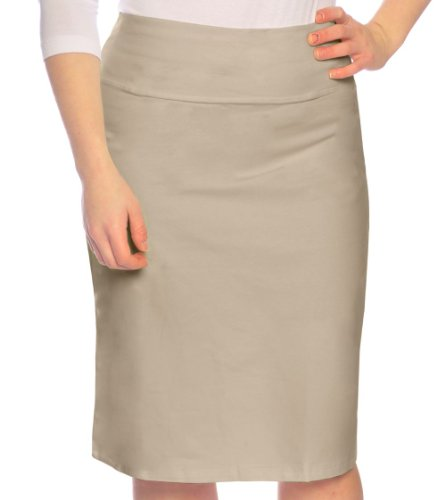 Kosher Casual Women's Modest Knee Length Stretch Pencil Skirt In Cotton Lycra XL Khaki Beige