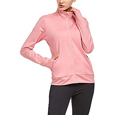 BALEAF Women's Fleece Bodyfit Full-Zip Pocketed Collared Long Sleeved Running & Track Jacket with Thumb Holes: Clothing