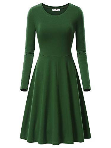 KIRA Swing Dress, Women's Long Sleeve Casual Swing Dress 17033-8 Medium Army Green from KIRA