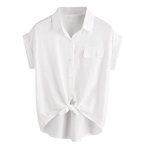 Summer Women Rolled Cuff Knotted Hem Shirt Button Casual Top Blouse