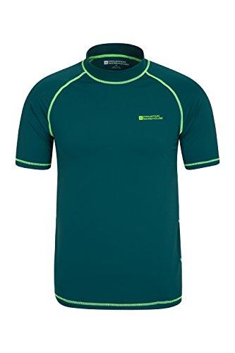 Mountain Warehouse Mens UV Rash Vest - Fast Drying Rash Guard Dark Green Large